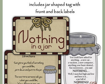 Make your own Jar of Nothing - Labels and Tag - Digital Printable Kit - Great Gift Idea - Immediate Download