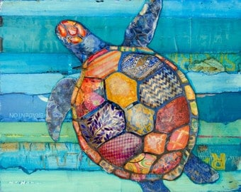 Honu -Hawaiian Honu Sea Turtle art PRINT or CANVAS vintage coastal sea ocean wall home decor summer gift for her him painting, All Sizes