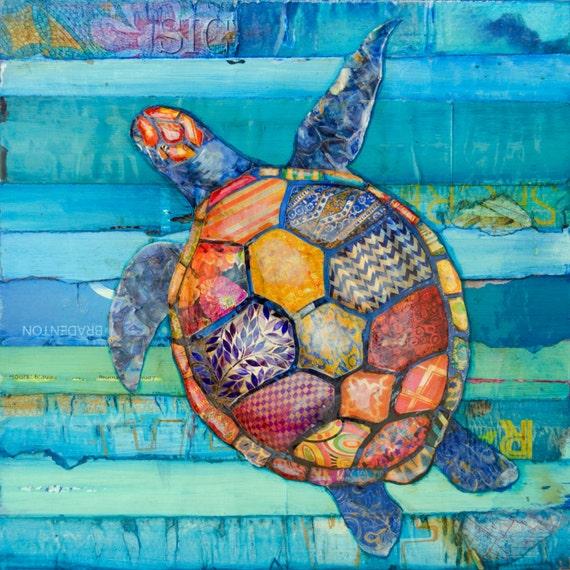 Bathroom Wall Art Canvas Artwork Nautical Coral Reef Ocean: Honu Hawaiian Honu Sea Turtle Art PRINT Or CANVAS Vintage