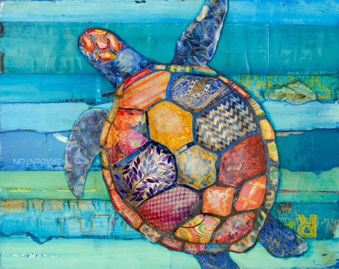 Featured listing image: Honu -Hawaiian Honu Sea Turtle art PRINT or CANVAS vintage coastal sea ocean wall home decor summer gift for her him painting, All Sizes