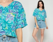 Crop Top OCEAN PACIFIC Shirt SEASHELL Beach Tshirt Heart 90s Cropped T Shirt Vintage 1990s Hipster Graphic Retro Turquoise Blue  Large