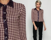 Houndstooth Shirt Western Blouse 90s PEARL SNAP Top Checkered Print Purple Vinyl 1990s Button Up Long Sleeve Hipster Extra Small xs