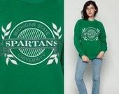 Michigan State Sweatshirt SPARTANS University 80s College FOOTBALL Shirt Raglan Sleeve Baggy Jumper 1980s Sport Vintage Green Medium