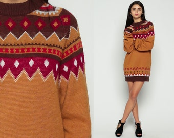 70s Sweater Dress Boho Tribal Geometric Print Striped Knit Mini 1970s Fair Isle Long Bohemian Brown Red Slouchy Vintage Graphic Large