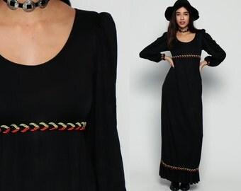 Long Black Dress 70s Maxi Dress Boho Goth PUFF Sleeve 1970s Hippie Bohemian Empire Waist Grecian Festival Vintage Ruffle Small Medium