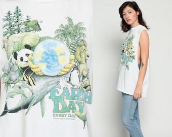 Earth Day Shirt Animal Tank Top Safari Jungle Print ELEPHANT Lion Panda Whale 80s Graphic Cut Off 90s Cutoff Vintage Panda Medium Large xl