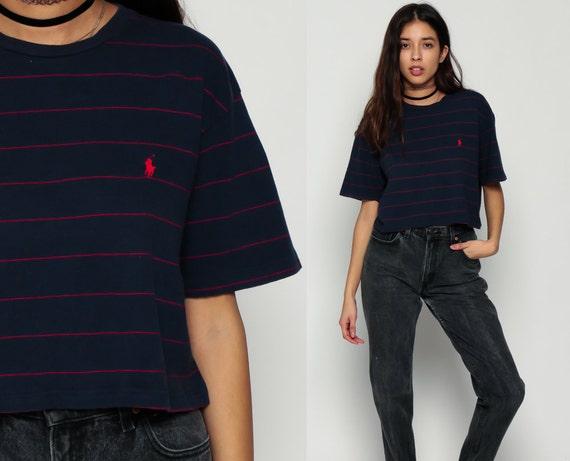 3989db73fa0fca ... 50% off ralph lauren t shirt cropped tshirt striped polo crop top  cotton t shirt