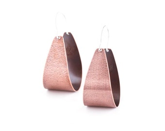 "Modern copper earrings with silver earwires in a fashionable arc shape that swing lightly in a fun way - ""Copper Scoop Earrings"""