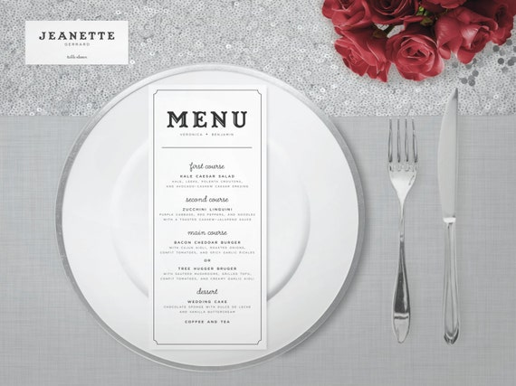 The Keira Wedding Menu and Place Cards - Printed or Printable