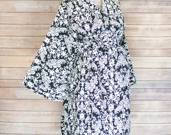 Black Damask Maternity Kimono Labor and Delivery Robe - Add a Delivery Gown for a Perfect Set- Perfect for Skin to Skin Breastfeeding