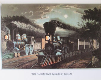 Currier and Ives, The Lightning Express Trains, 8.5 x 11 in Reproduction Print, Bookplate, 1978 Unframed Vintage Book Print