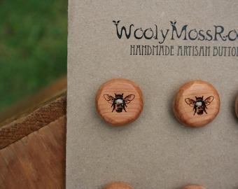 6 Honeybee Buttons- Juniper Wood- Handmade Wooden Buttons- Knitting, Sewing, Craft Buttons