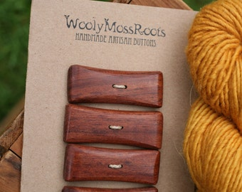 4 Mahogany Toggle Buttons- Mahogany Wood Buttons- Reclaimed Wood- Knitting, Sewing, Craft Buttons
