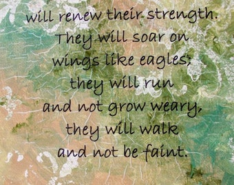 Christian Art Print Inspirational Wall Art Soar on Wings Like Eagles Isaiah 40:31 Bible Verse 8x10 inch