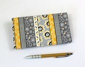 READY TO SHIP - Duplicate Checkbook Cover with Pen Holder, Gray and Yellow Striped Cotton Fabric