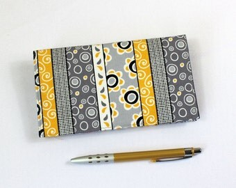 Duplicate Checkbook Cover with Pen Holder, Gray and Yellow Striped Cotton Fabric