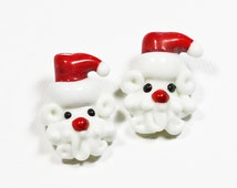 LOOSE Lampwork Glass Beads - Curly Beard Red and White Santa (2 beads) - gla1040