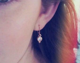 Rose Gold Earrings, Small Earrings, Rose Gold CZ Jewelry, Drop Earrings, Dangle Earrings