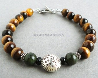 Mens Tiger Eye & Nephrite Jade Bracelet, Thai Hill Tribe Fine Silver Fish Accent, Bali 925 Sterling Silver Toggle Clasp