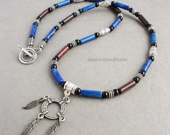 Blue Lapis, Red Jasper, Black Onyx Beaded Mens Necklace, Men's Jewelry, Tribal, Patriotic, Native American Pewter Pendant