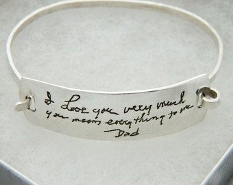 Handwriting Jewelry In Memory of Dad Bracelet Signature  in Sterling Silver