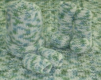 Baby Set w Afghan, Hat, Booties and Thumbless Mitts