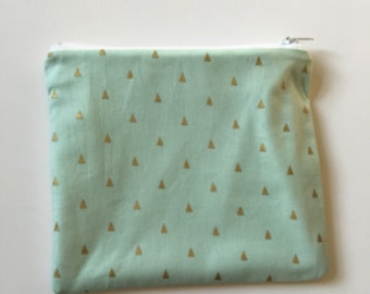 Mint green and gold Wet bag/Snack bag with waterproof lining