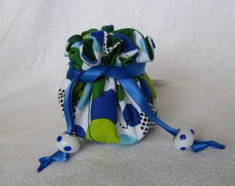 Jewelry Bag - Mini Size - Polka Dot Interior Drawstring Pouch - BUBBLE TROUBLE