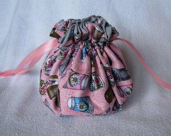 Pouch for Jewelry - Medium Size - Drawstring Bag - Travel Tote - THIMBLES