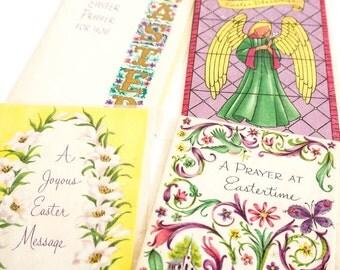 Vintage 1960s Easter Cards / Set of 4 NOS Easter Greeting Cards with Envelopes