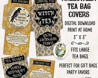 Halloween Tea Bag Covers Wrappers Fortune Teller Vintage Witch Digital Download Printable Clip Art Gift Tag Graphic Image Collage Sheet
