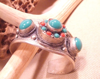 Tribal silver cuff bracelet -- old Kuchi jewelry -- heavy patina( FREE SHIPPING SALE)