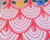 Pink Cake Icing Plush Vintage Chenille Bedspread Fabric 22 x 24.5