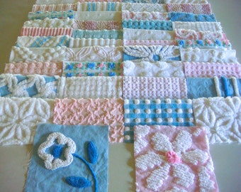 42 Fairytale Pink, Blue and White Vintage Cotton Chenille Bedspread Fabric Charm Quilt Squares, 6-Inch