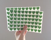 108 Mini Heart Stickers - Emerald Green