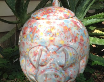 Pig, cookie jar, bright, multi colored, cookie canister, ceramic cookie jar, canister