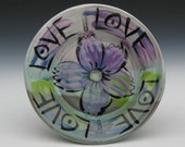 love dish with purple flower and love design small plate ceramic footed tray