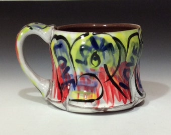 love mug with primary colors blue yellow red white black quality handmade mug