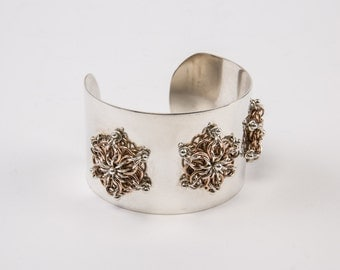 Sterling Silver and Gold Filled and Argentium Three Rosettes Cuff