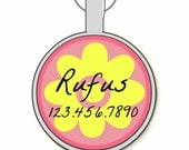 Pink Girly Flower Personalized Dog ID Pet Tag Custom Pet Tag You Choose Tag Size & Colors