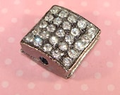 2 Rhinestone Square Beads Charms Gunmetal w Crystal LAST LOT 14mm Bracelet Bar Connector Heavy Grooved Slider Bulk Jewelry Supplies 42718