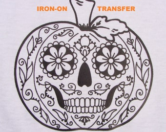 Pumpkin Sugar Skull TRANSFER Iron On Heat Press DIY for T shirts Totes Adult Coloring Page Zendoodle Color w Markers Halloween Party Favor