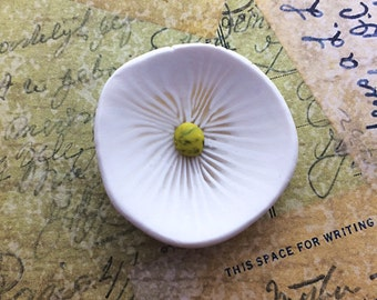 Morning Glory Brooch, White Polymer Clay Flower Pin Accessory