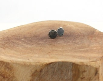 textured oxidized sterling silver post earrings
