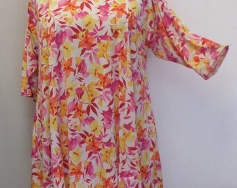 Plus Size Tunic Coco and Juan Plus Size Asymmetric Tunic Top Pink Tropical Flowers Print Traveler Knit Size 1 (fits 1X,2X)   Bust 50 inches