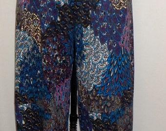 Plus Size Pants, Coco and Juan, Plus Size Pant, Lagenlook Navy Blue Print Traveler Knit Wide Leg Pant, Size 2 fits 3X,4X