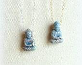 Buddha necklace on silver or gold fill chain spiritual jewelry buddhism blue buddhist pendant