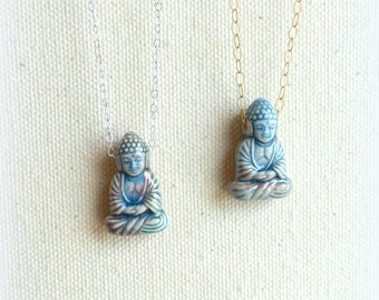 Buddha necklace on silver or gold fill chain spiritual jewelry buddhism blue buddhist pendant