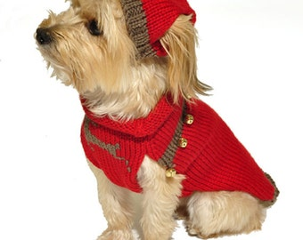 Red Dog Sweater with Knit Hat and Jingle Bells Sizes XXS to Large