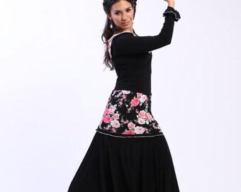 NEW *** JUANA flowers skirt, Flamencita design, Professional Flamenco spanish skirt. Tribal fusion skirt.